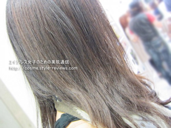 uruotteうるおってリペアミルク使い方実演 スタイリング完成後の髪の質感アップ