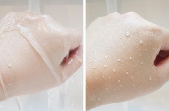 ボディショップのモイスチャーホワイトBBセラムインサイドの使用感 水を掛けて実験